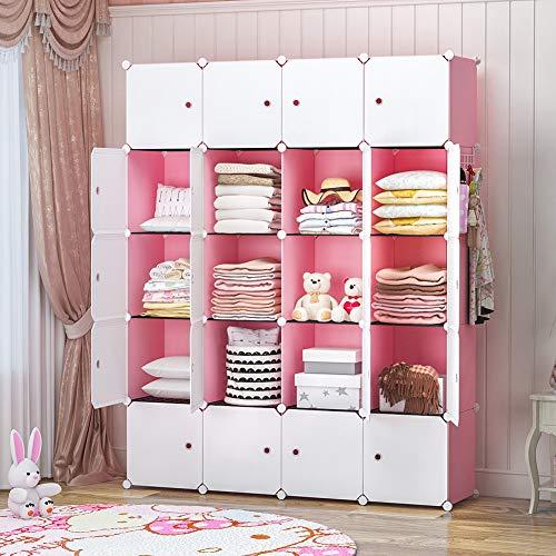 YOZO Portable Closet Wardrobe Cube Storage Organizer Chest of Drawer Cube Shelving Unit Multifunction Toy Cabinet Bookshelf DIY Furniture, Pink, 20 Cubes