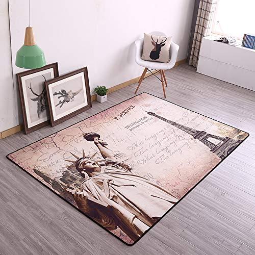GRENSS Europäische Retro m Feld Flagge Wohnzimmer Couchtisch Teppiche Schlafzimmer Bett Teppich Home Fußmatte Fußmatte waschbar, 120 x 180 cm Wohnzimmer, die Freiheitsstatue