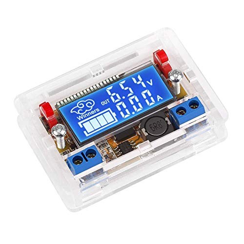ICQUANZX DC-DC Regulador de Voltaje Ajustable DC Buck Converter 5-23V a 0-16.5V 3A Módulo de Fuente de alimentación Reductora Pantalla LCD Voltímetro Digital Amperímetro con Carcasa