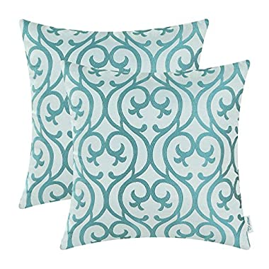 CaliTime Pack of 2 Cushion Covers Throw Pillow Cases Shells Sofa Couch Home Decoration Vintage Scrolled Floral Geometric 18 X 18 inches Teal