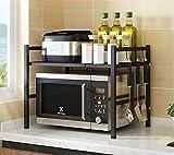 Shelf Organizador De Almacenamiento del Estante del Estante del Soporte del Horno De Microondas Flexible Ampliable para La Cocina con 3 Ganchos Colgantes Negros (46-70x36x47cm)
