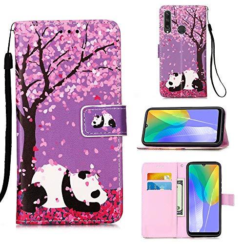 Miagon für Huawei Y6P Leder Hülle,Klapphülle mit Kartenfach Brieftasche Lederhülle Stossfest Handy Hülle Klappbar,Kirschblüten Panda