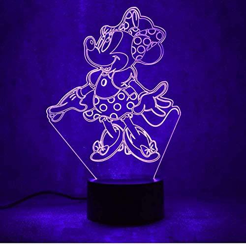 Tischlampe 3D USB LED Kreativ Visuell Buntes Nachtlicht für Kindergeschenke Baby Schlafende Nachtlicht Tier Maus Nachttischlampe