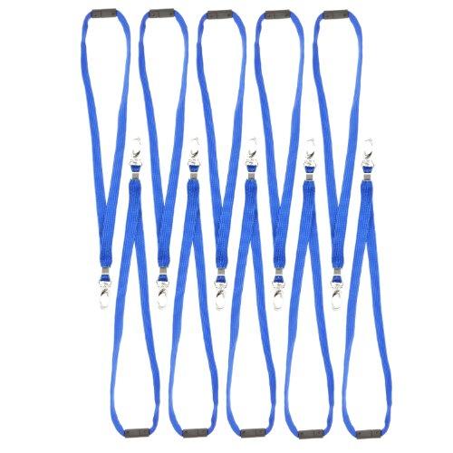 CKB Ltd 10x Breakaway Blau Lanyard Neck Strap Band Halsband Metall-Klipp For ID Card Ausweiskartenhalter Schlüsselband mit Sicherheitsverschluss Schlauchband Holder Für Veranstaltungen Events Ausweise Messen Namensschilder