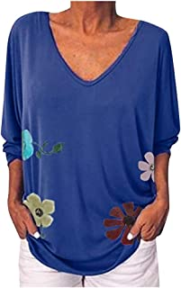 Loosebee◕‿◕ Women Tops, Women Fashion V Neck Long Sleeve Loose Floral Print Casual Top Blouse Loose T-Shirts Sweatshirts