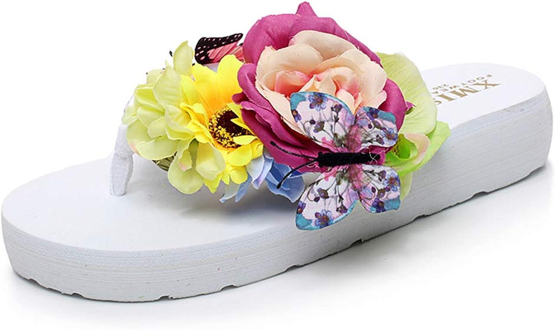 Women Butterfly Flower Slide Wedge Platform Flip Flops Bohemia Summer Stylish Girl Anti-Slip Beach Sandals