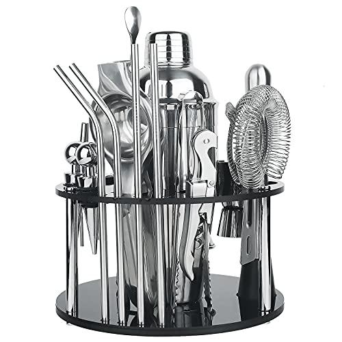 SINJIAlight Set da cocktail, shaker da 750 ml, 18 pezzi, nero opaco, con supporto girevole e ricettario, kit per la barba per casa, bar e feste all aperto