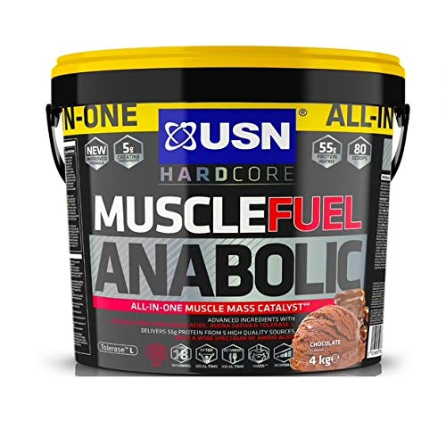 USN Muscle Fuel Anabolic Chocolate 4KG, Performance Boosting Muscle Gain Protein Shake Powder