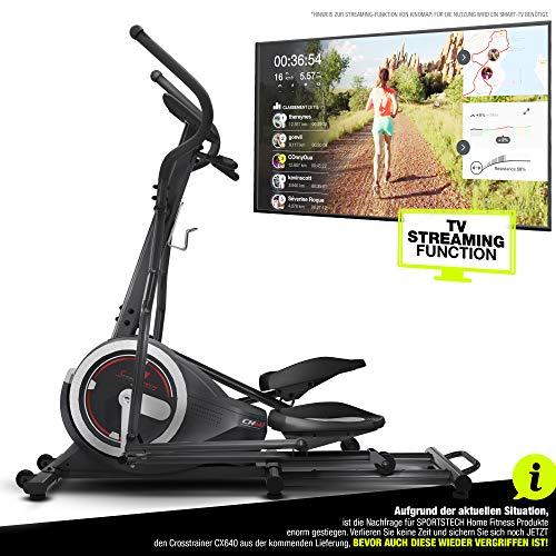 Sportstech CX640 Bicicleta elíptica - Marca de Calidad Alemana - Eventos en directo & App Multijugador, 24 KG de masa de volante, 26 programas de entrenamiento con HRC, Elíptica + soporte de tablet (CX640_rede)