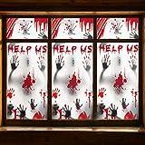 Decoraciones de Halloween de vantana zombis - 3 piezas de siluetas de zombis con huellas de manos gigantes y sangrientas, tratamiento de ventana espeluznante, decoración Halloween