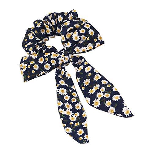 P Prettyia Pañuelo para el Cabello Cinta de Mujer Scrunchie Floral para el Ponytail Bandas Elásticas para Pelo Accesorios - Azul Oscuro