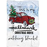 DZGlobal This is My Hallmark Christmas Movie Watching Blanket Quilts. Merry Christmas Throw Gift, Hallmark Blanket. Gift for Dad Mom Grandparents 50' X 60'