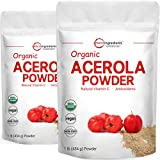 2 Pack of Pure USDA Organic Acerola Cherry Powder, Natural and Organic Vitamin C for Immune System, 8 Ounce, No GMO, No Gluten