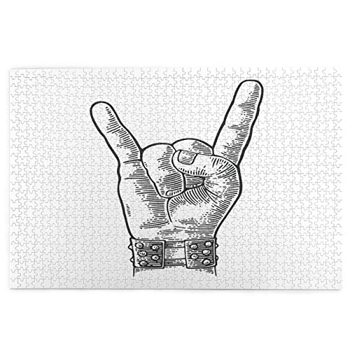 1000 Pieces Jigsaw Puzzles for Adults Kids,Rock And Roll Hand Sign Metal Spiked Bracelet Giving The Devil Horns,Picture puzzle,Serise Puzzles for Kids Educational Toys Game Jigsaw Puzzles Home Decor