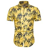 SCLDX Camisa Hawaiana para Hombre - Camisa De Playa De Verano Casual con Botones De Manga Corta Novedad 3D Palm Impreso Estilo Bohemio Camisa Funky para Fiesta De Vacaciones Top Wear, Amarillo, L