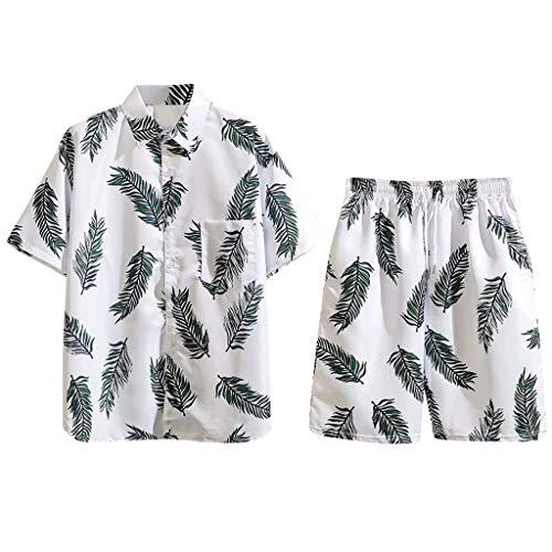 Yowablo Kurzarmshirt Shorts Set Shirt Set Herren Sommermode Print Kurzarm Tasche Berufung (L,1Weiß)