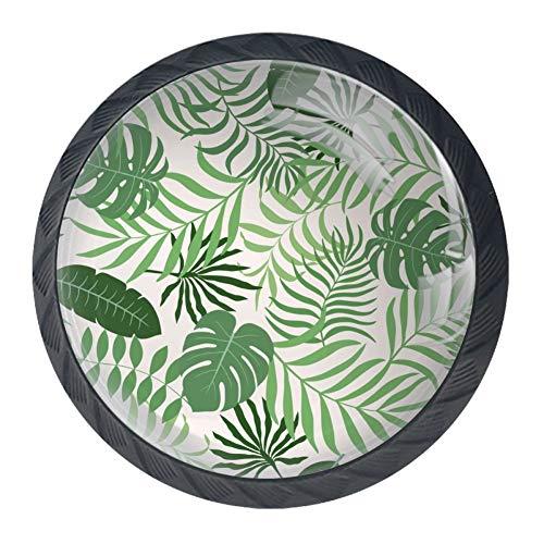 Fondo con hojas de palmera de cristal para gabinete de 4 piezas de 35 mm asas de cajones para armarios y armario