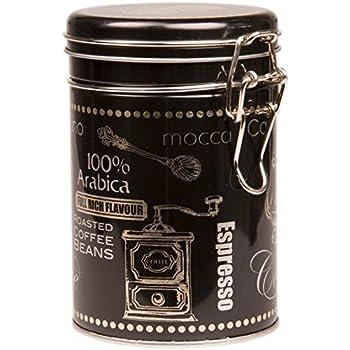 Negro Arabica Coffee – Caja metálica de almacenamiento para café/té/Lata Redondo Con Tapa Y Clip: Amazon.es: Hogar