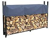 QUICK STAR Metal Firewood Rack Anthracite 200 x 25 x 115 cm Garden Firewood Shelter 0,8 m³ / 1 SRM Stacking...
