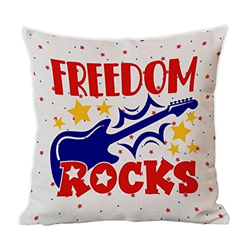 BYRON HOYLE Frihet stenar prydnadskudde överdrag 4 juli självständighetsdagen bomull linne rustikt kuddöverdrag för bäddsoffa 45 cm x 45 cm