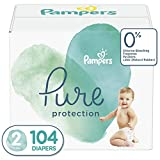 Diapers Size 2, 104 Count - Pampers Pure Protection Disposable Baby Diapers, Hypoallergenic and Unscented Protection, Giant Pack