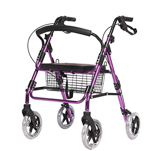 Great Deal! ZHUXIN Aluminum Walker, Foldable Roller Rehabilitation Equipment, with Seat Back and Ped...
