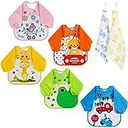 Lictin Lot de 5 Bavoirs EVA Imperméable Unisexe Bavoir Manches Longues pour bébé de 6 mois à 3 ans (voiture, grenouille, oiseau, girafe, ours) avec 2 mignons mouchoirs en coton 100%