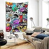 N\A Hippie Hippy Tapiz de Pared Graffiti de Dibujos Animados Gran Tapiz Misterioso Tapiz Colgante de Pared para Dormitorio Accesorios de Dormitorio Mandala Yoga Picnic Mat Tapiz étnico