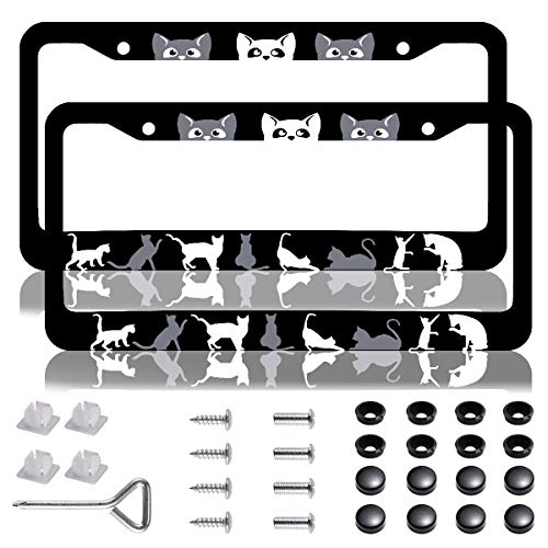 2 Pack Black Cat License Plate Frames, Universal Stainless Steel Auto Car Plate Frame Cover Holders with Screw Caps for Pet Lovers