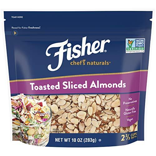 FISHER Chef's Naturals Toasted Sliced Almonds, 10 oz, Naturally Gluten Free, No Preservatives, Non-GMO, 10 oz