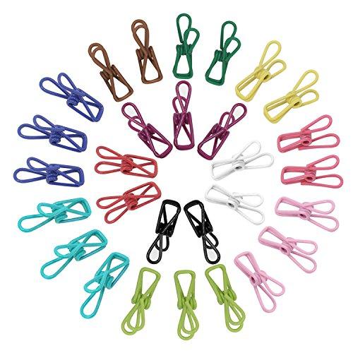 KEESIN Pinzas para ropa de uso múltiple Clips de lavandería de acero inoxidable Larga lista Colcha para colgar Clip para colgar 30 paquetes de color al azar