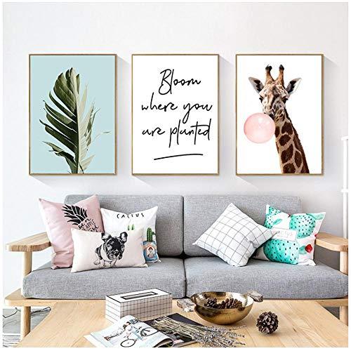 """LILONG Druck auf Leinwand Nordic Canvas Giraffe Bild Leinwandmalerei Wandkunst Wohnzimmer Kinderzimmer Nordic Home Decor Bild 40x60cm / 15,7 """"x23.6"""" x3 No Frame"""