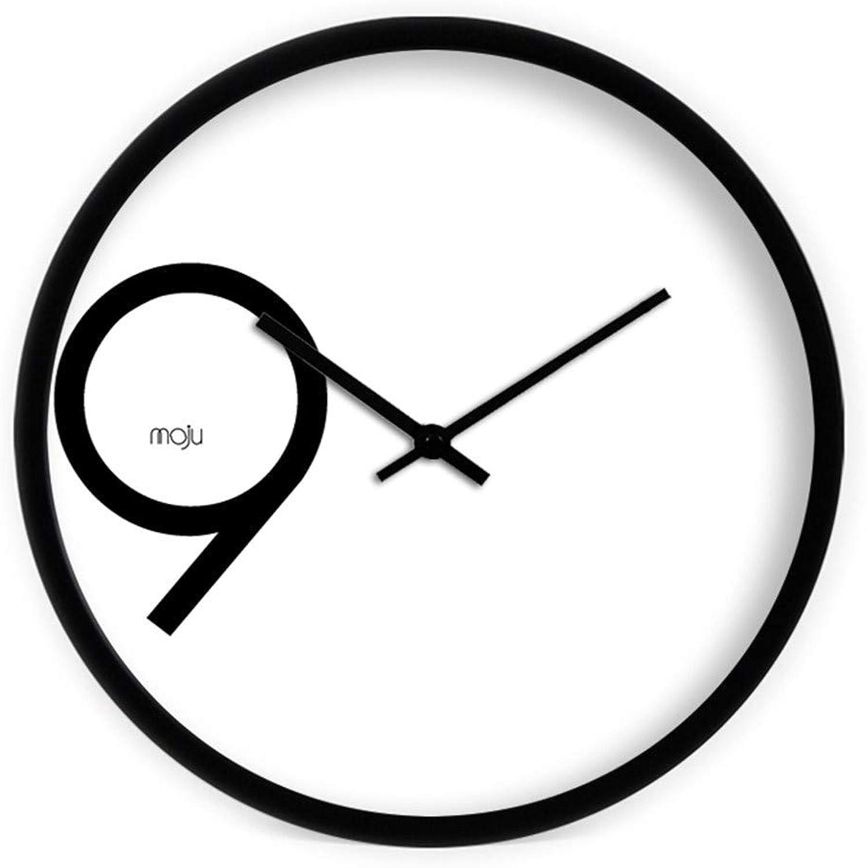Classic quality Reloj de Parojo silencioso Creative Elegante y Simple de 9 Dormitorio Salón Mesa de Parojo Reloj Reloj de Cuarzo Negro de 12 Pulgadas