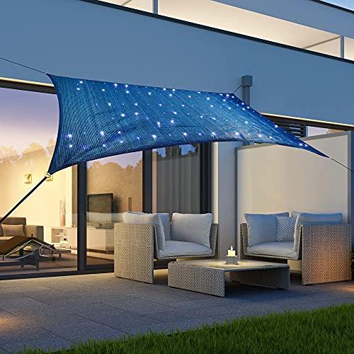 Toldo cuadrado 'cielo estrellado' con 100 microledes de 300 x 200 cm, solar con iluminación LED, para jardín, balcón y terraza, resistente a la intemperie, con protección UV, color azul