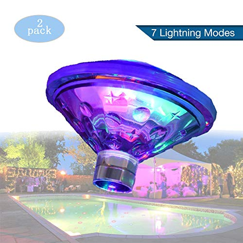 EnweLampi Hot Tub Floating Lights, Diamond Pond Lights, 7 Dimmable, AAA Battery Powered for Halloween Party Lighting And Decoration, Garden Swimming Pool (2 Pcs)