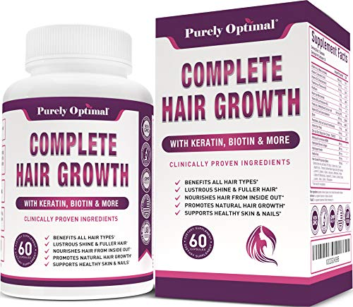 Premium Hair Growth for Women & Men - Hair Growth Vitamins w/ Biotin & Keratin - Prevents Hair Loss & Thinning, Supports Thicker Healthier Hair Growth - Supplement for All Hair Types, 60 Capsules