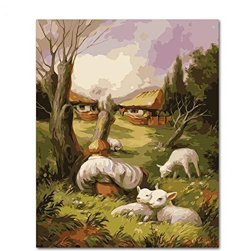 Umarmen Sie sich gegenseitig Diy Gemälde nach Zahlen Wandkunst Bild Acryl Leinwand Gemälde für Wohnkultur 50x65cm
