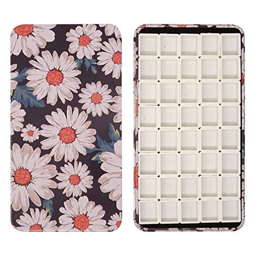Honbay Watercolor Tins Palette Paint Case with 40pcs Plastic Half Pans (Daisy)