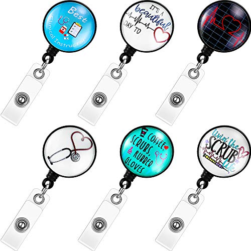 6 Pieces Nurse Retractable Badge Reel Doctor ID Badge Reels Decorative Name Badge Holder with Clip for Office School Supplies