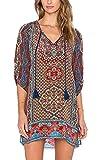 Urbancoco Damen Vintage Bohemian Strandtunika Sommerkleid Tunikakleid Bluse (L, 6)