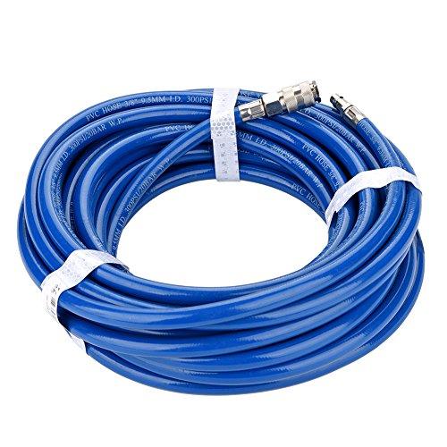 Pneumatische PVC luchtslang, gecomprimeerde luchtslang pneumatisch15m druk Quick Action Koppeling Luchtcompressor Flexibele Pneumatische PVC slang met Quick Connector Air Line PVC slang (EU Interface)15m