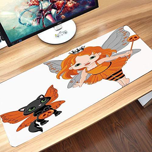 Gaming-Mauspad Gummiunterseite,Halloween, Halloween Baby Fairy und ihre Katze in Kostümen Schmetterlinge Mäd,Schreibtischunterlage Abwischbar Anti Rutsch Matte Multifunktionales Office Mousepad60x35cm