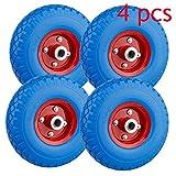 Miafamily 4X Ruota Ruota Gomma piena Ruota PU Ruota 3.00-4 Ricambio ruota pneumatico tatti...