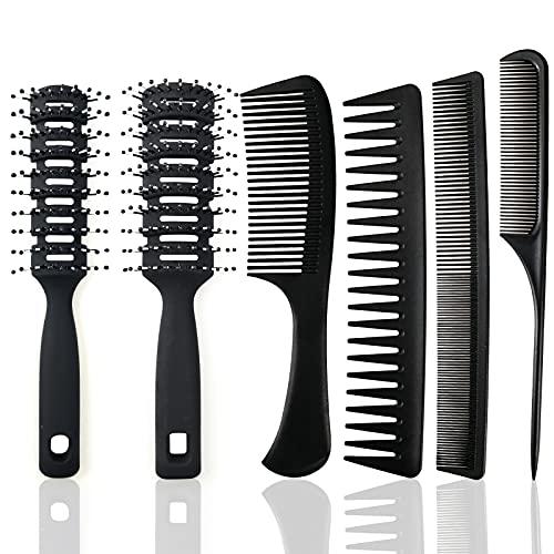 6 Stücke Haarkamm und Bürsten Set,Vent-Bürste Entwirrende Haarbürsten Schwarzes Haar Styling Kämme für Männer Frauen,zum Täglichen Frisieren der Haare