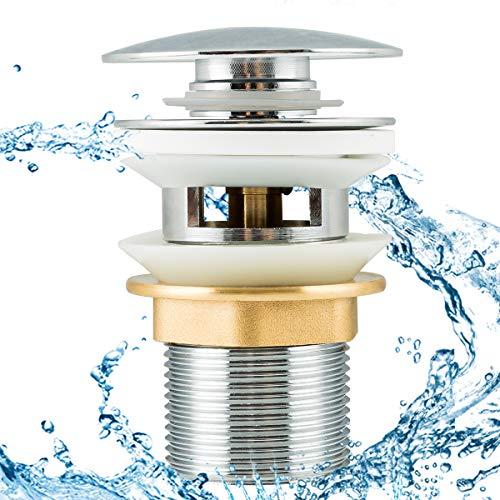 Frap Universal Ablaufgarnitur POP UP Ventil Ablaufventil für Waschtisch/Waschbecken mit/ohne Überlauf, 1 1/4 Zoll aus Messing, Silber