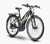 R Raymon TourRay E 4.0 - Bicicleta eléctrica de Trekking, Color Negro, Verde y Gris Brillante, tamaño 28 Damen Trapez 52cm, tamaño de Rueda 28.00