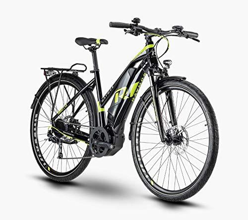 R Raymon TourRay E 4.0 Yamaha - Bicicletta elettrica da trekking 2020, nero/lime/grigio lucido., 28' Damen Trapez 52cm