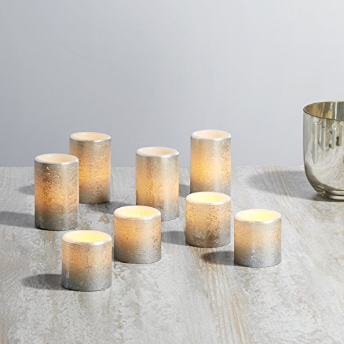 Silver Wax Flameless Votive Candles - Timer and Remote, Warm White Flickering LEDs, Distressed Finish, Variety Pack, Batteries Included - 8 Pack