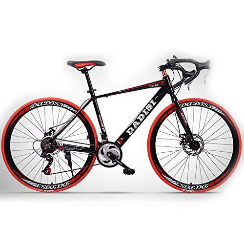 H-LML Bicicleta de Carretera de 27 Pulgadas Hombres y Mujeres Velocidad de aleación de Aluminio Frenos de Disco Bicicletas Curvas Carreras,Red,27