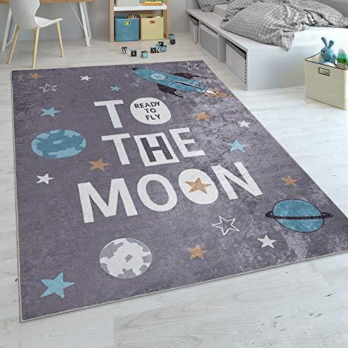 Alfombra Infantil, Tejido Plano para Habitación Infantil, con Estampado De Cohetes Y Frase, Gris, tamaño:120x160 cm